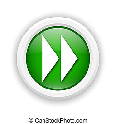 Round plastic icon with white design on green background