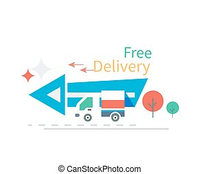 Fast Free Delivery Concept Icon Flat Design