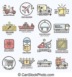 Fast Free Delivery Service Transports Logo Set