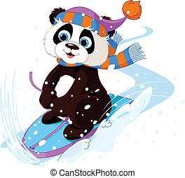 Fast fun Panda - Cute panda sledding downhill winter snow ...