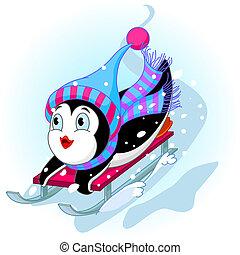 Fast fun Penguin - Vector illustration of Penguin having fun...