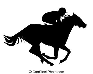 Fast horse with a jockey