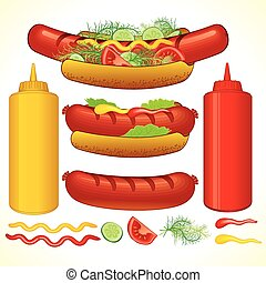 Fast Hotdog - Set of Fast Food Isolated Elements