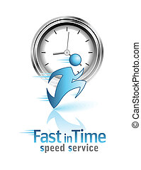 Fast in Time. Social icon. Running men.