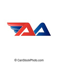 fast initial letter logo vector wing