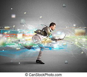 Fast internet concept - Concept of fast internet with...