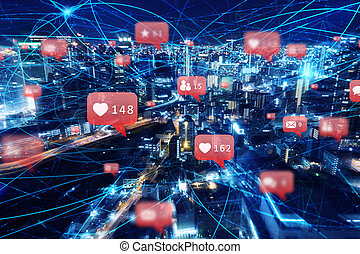 Fast internet connection in the city at night. Concept of social network, technology and innovation
