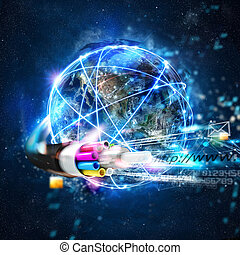 Fast internet worldwide connection with the optical fiber -...