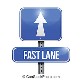 fast lane road sign illustration design over a white ...