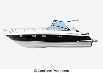 fast luxury yacht isolated on white