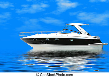 fast luxury yacht sails blue sea
