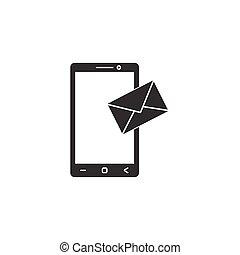 fast, mobil, sms, underteckna, ikon, posta, meddelande