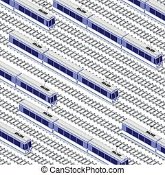 Fast modern high-speed train. Vector flat 3d isometric illustration