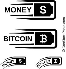fast money bitcoin motion line vector