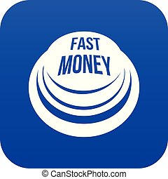 Fast money button icon blue vector