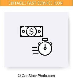 Fast money line icon. Editable illustration