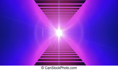 Fast motion in modern neon tunnel, trip imitation, ...