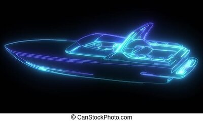 fast motorboat. Speedboat, water transport, rescuer digital neon video