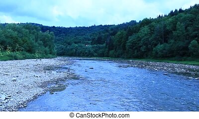 fast mountainous river - beautiful landscape with speed...
