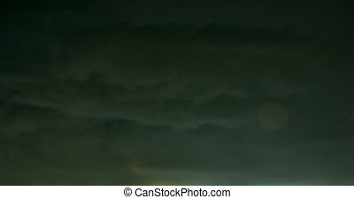 Fast movement of storm clouds with flashes of lightning