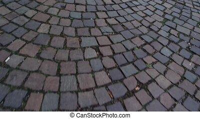 Fast movement the stone pavement.