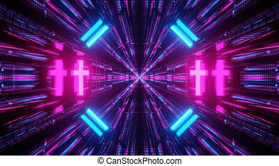 Fast Moving Bright Sci-fi 3d Endless Tunnel 4k uhd rendering...