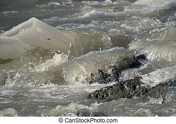 fast moving icy river