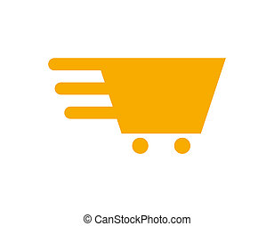 Fast moving shopping cart icon