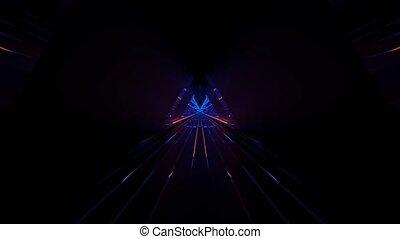 fast moving speed tunnel neon loop in 4k uhd 60fps, futuristic blue and orange 3d rendering cgi vfx animation loop