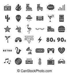 fast, nät, retro, ikonen