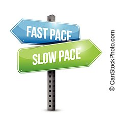 fast pace slow pace road sign illustration design over a ...