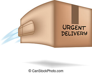 Fast package delivery concept. Box with jet engine.