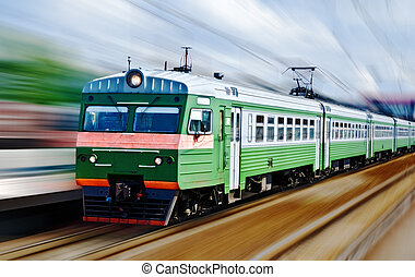 fast passanger train, motion blur