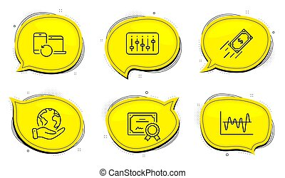 Fast payment, Dj controller and Stock analysis icons set. Recovery devices sign. Vector