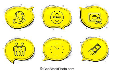 Fast payment, Friends couple and Scroll down icons set. Time sign. Finance transfer, Friendship, Swipe arrow. Vector