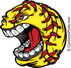 Fast Pitch Softball Ball Cartoon Face Illustration