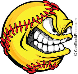 Fast Pitch Softball Face Cartoon Ball Vector Image - Vector...