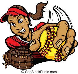 Fast Pitch Softball Pitcher Cartoon - Vector Cartoon of a...