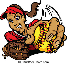 Fast Pitch Softball Pitcher Cartoon - Vector Cartoon of a...