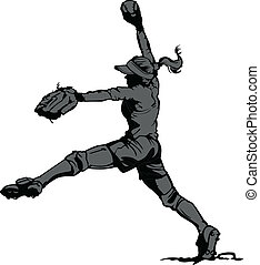 Vector Illustration Silhouette of a Fastpitch Softball Player Pitching
