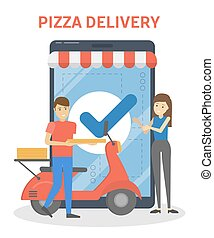 Fast pizza delivery boy courier holding box