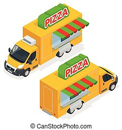 Fast Pizza Delivery Car isolated on white background. Delivery van with pizza express symbol. Fast-food car with pizza. Flat 3d vector isometric illustration. Mobile food truck. Car with Italian food