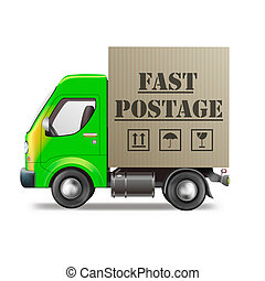 fast postage delivery truck with cardboard box