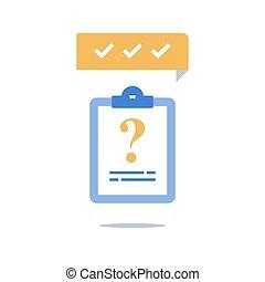 Fast quiz, questionnaire form, opinion survey, education...