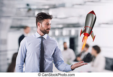 Fast rocket ready to fly fast. Startup of a new company concept