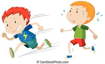 Fast runner and slow runner