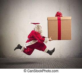 Fast Santa Claus - Fast runner Santa Claus with a big...