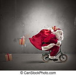 Fast Santa Claus on the bike - Fast Santa Claus on a small...