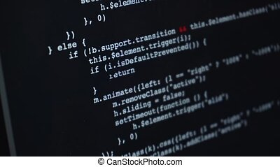 Fast scrolling of programming code over screen on laptop or...
