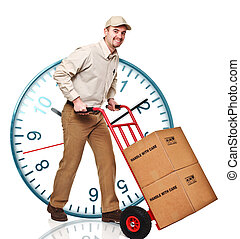 fast service - classic watch and delivery man with handtruck